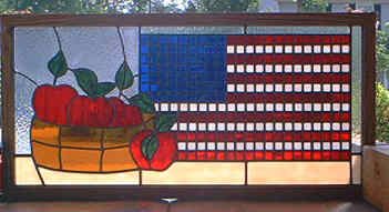 Custom Stained Glass - Apples and American Flag