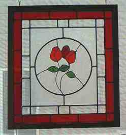Custom Stained Glass - Rose Panel