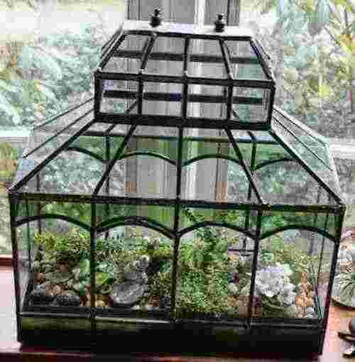 Victorian style terrarium stained glass design for Garden glass house designs